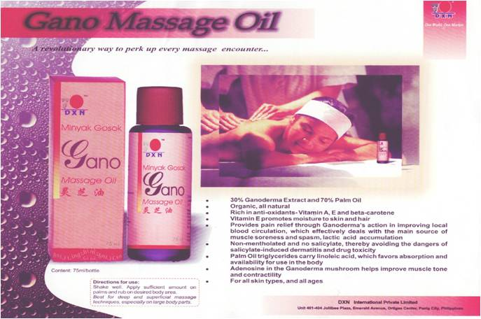 The Gano Massage Oil is a product of DXN International - the world class Ganoderma manufacturer..