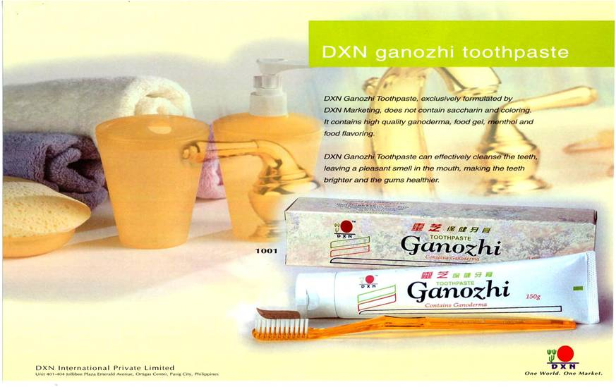 The Ganozhi Toothpaste is a product of DXN International - the world class Ganoderma manufacturer..